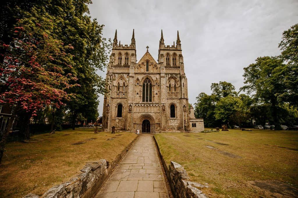 Selby Abbey just before a wedding is about to take place