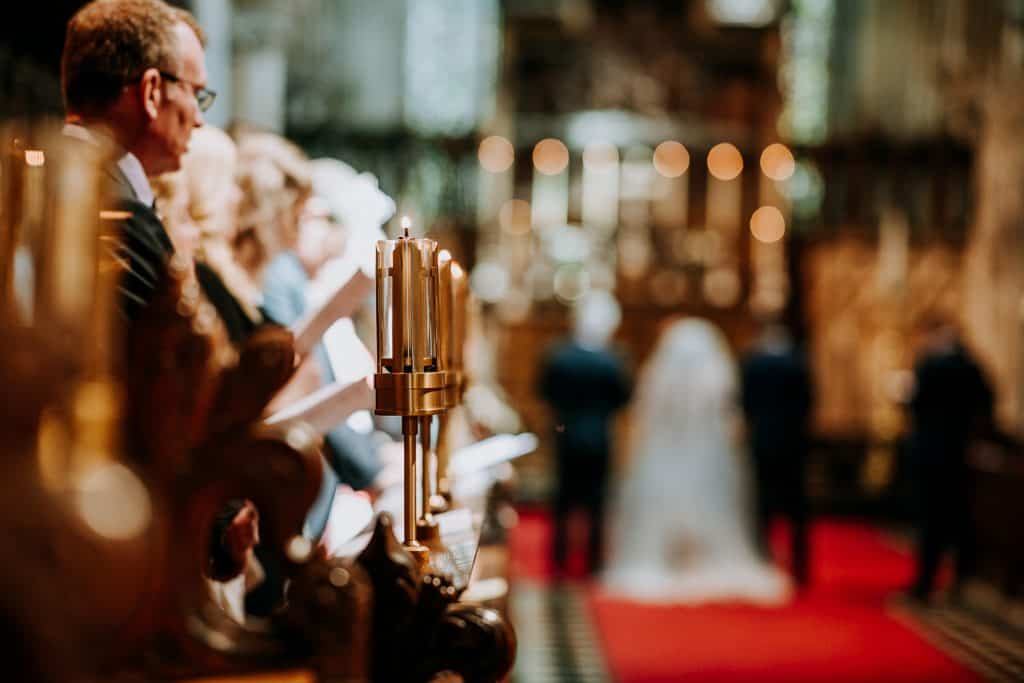 A candle holder at Selby Abbey captured on a wedding day