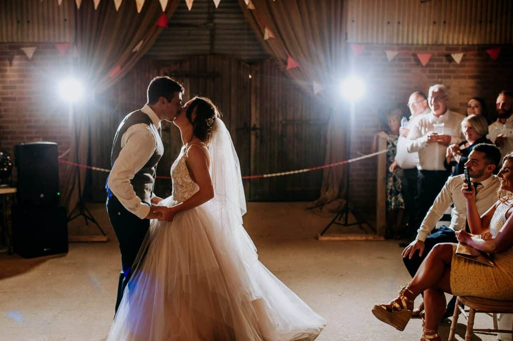 Berts barrow wedding photographer M and G Wedding Photography captures a bride and groom enjoying their first dance