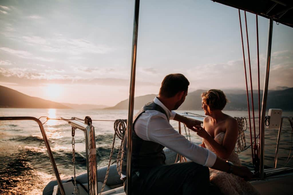 A couple enjoy the sunset in Montenegro at this beautiful destination wedding photographed by Wedding Photographer Yorkshire M and G Wedding Photography