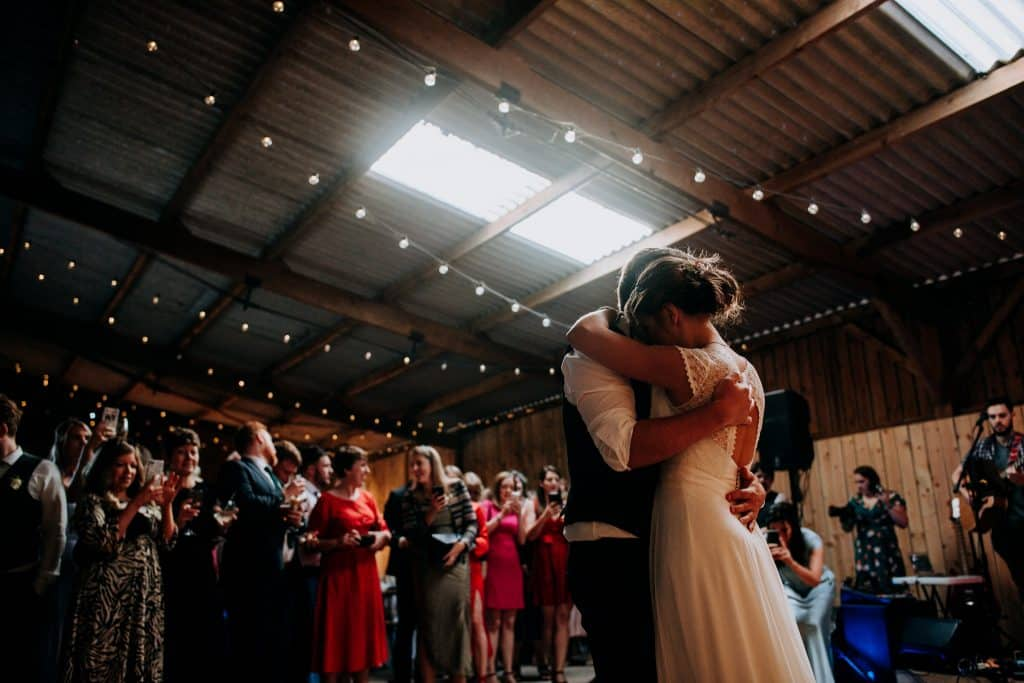 a romantic first dance at the East Yorkshire Barns