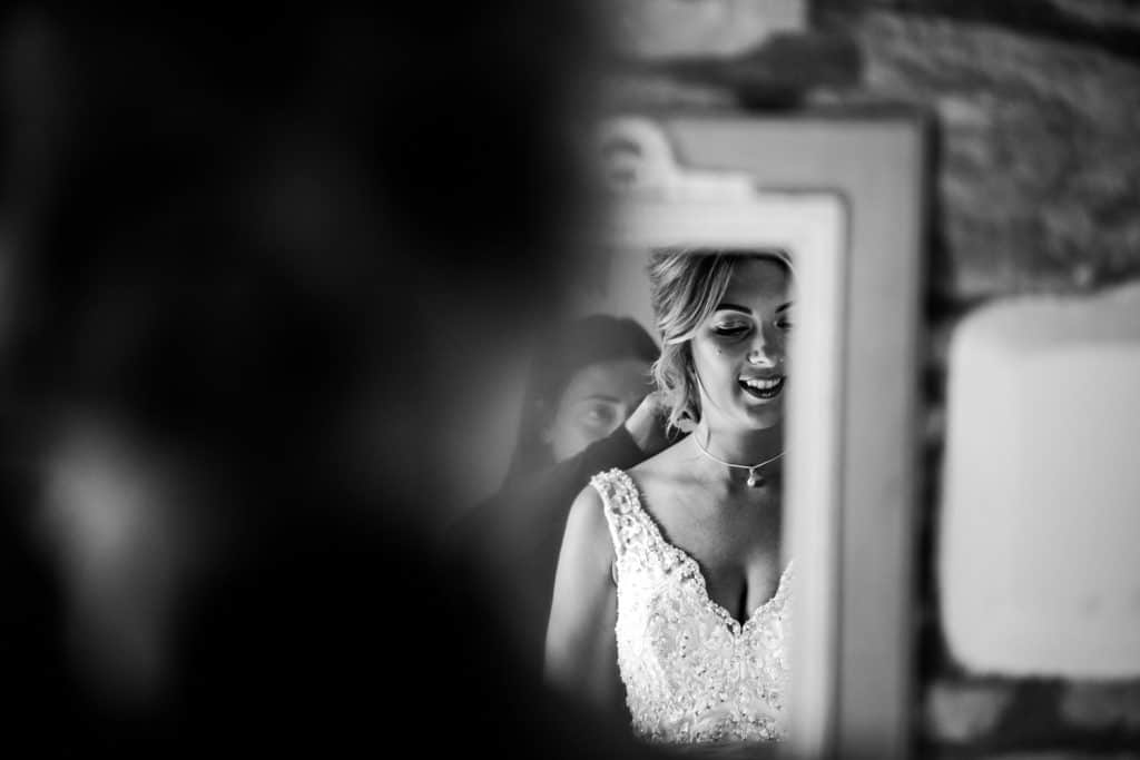 The bride gets ready for her wedding ceremony