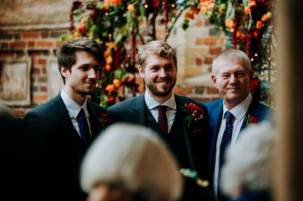 The groom and friends get ready for the wedding ceremony