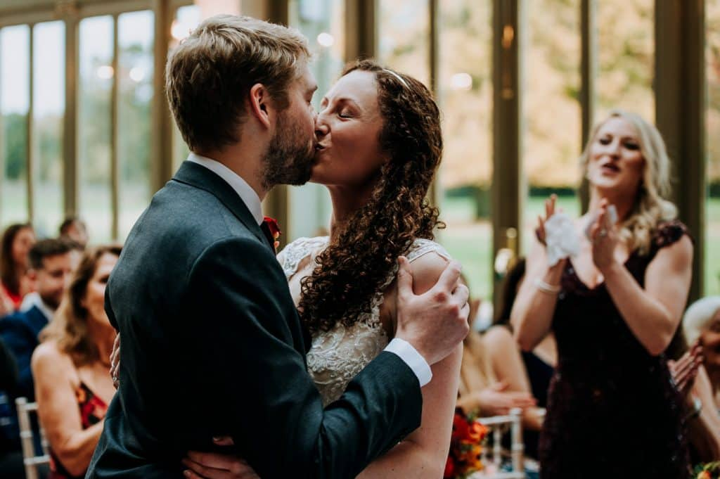 A romantic first kiss during this Hertfordshire wedding