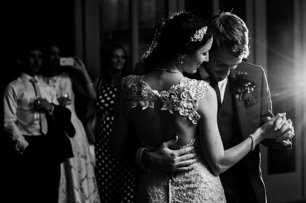 A beautiful black and white image of a first dance at the stately home Offley Place