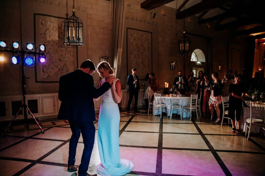 A bride and groom enjoy their traditional first dance together in an image taken by Orangery Settrington wedding photographer M and G Wedding Photography