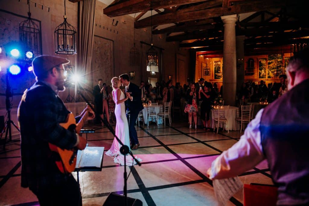 An image showing both a live band playing and a bride and groom dancing together