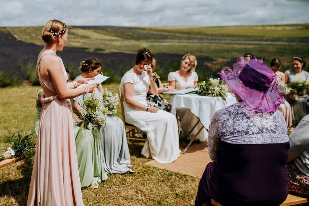 Emotions run high at this outdoor wedding ceremony