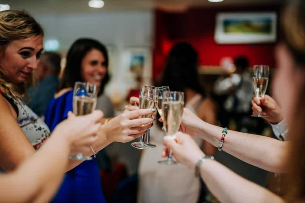 guests raise glasses to toast