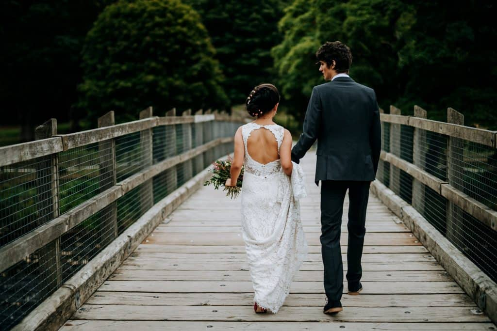 a photo of bride and groom from behind