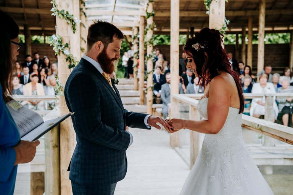 The ring exchange at a Yorkshire wedding