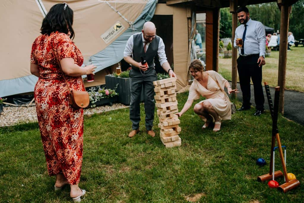 Wedding jenga at Oaklands in Yorkshire