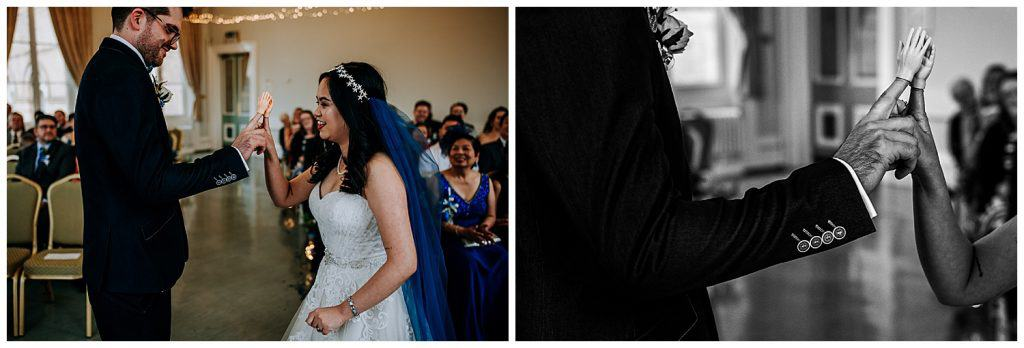 A comparison of two different wedding images together, one in black and white and one in colour