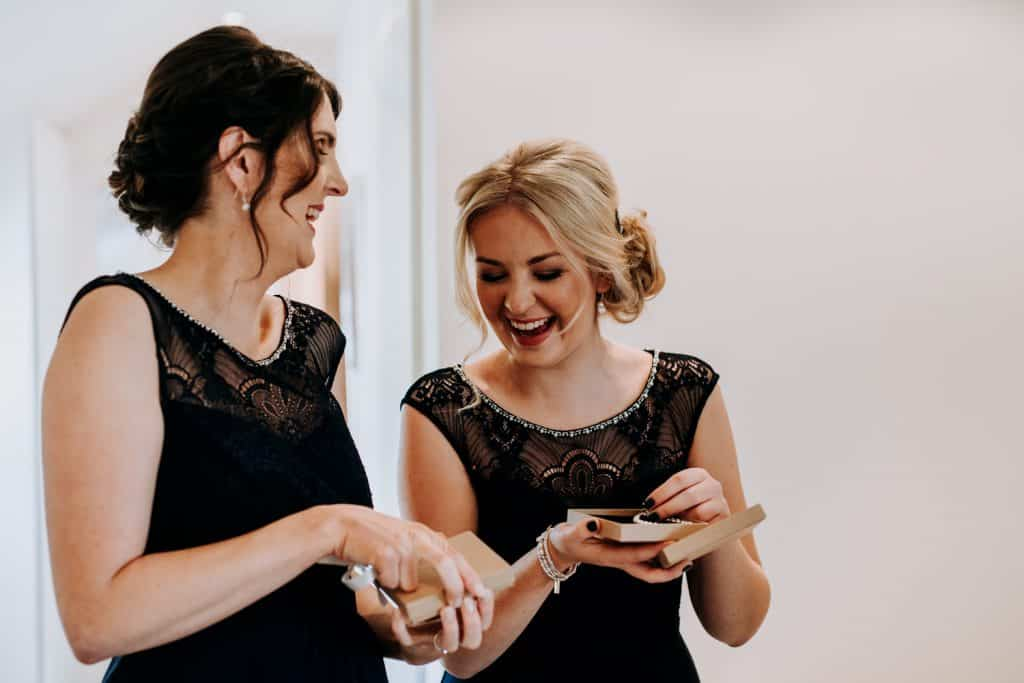 Bridesmaids receive gifts