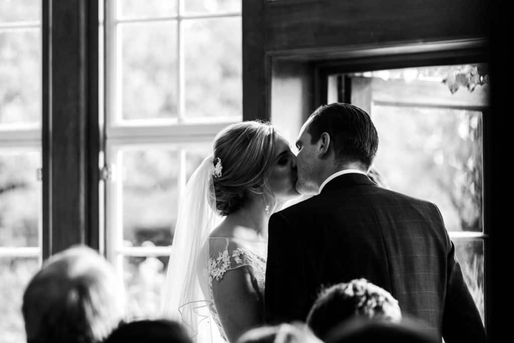 The first kiss at a wedding ceremony