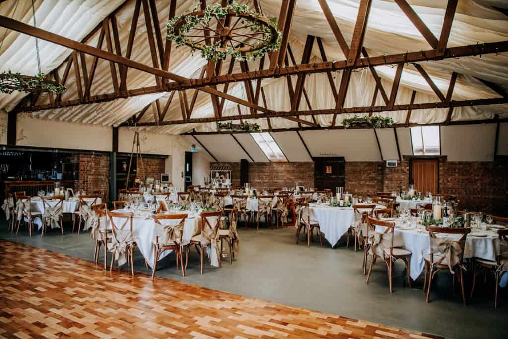 inside the beverley barn photographed by M and G Wedding Photography