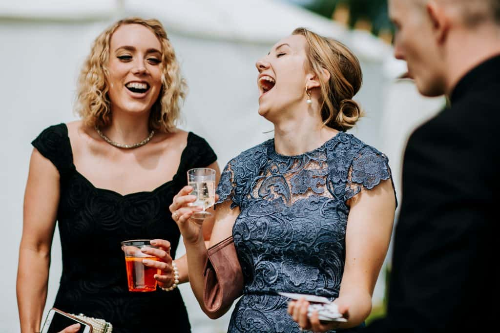 Yorkshire wedding photography capturing wedding guests laughing