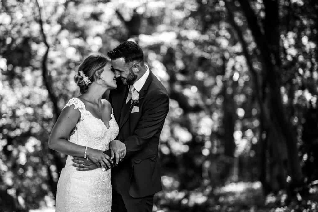 a beautiful natural wedding portrait in black and white