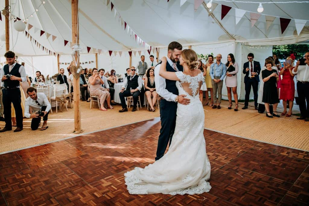 bride and groom have their first dance at Yorkshire wedding venue Little Wold Vineyard