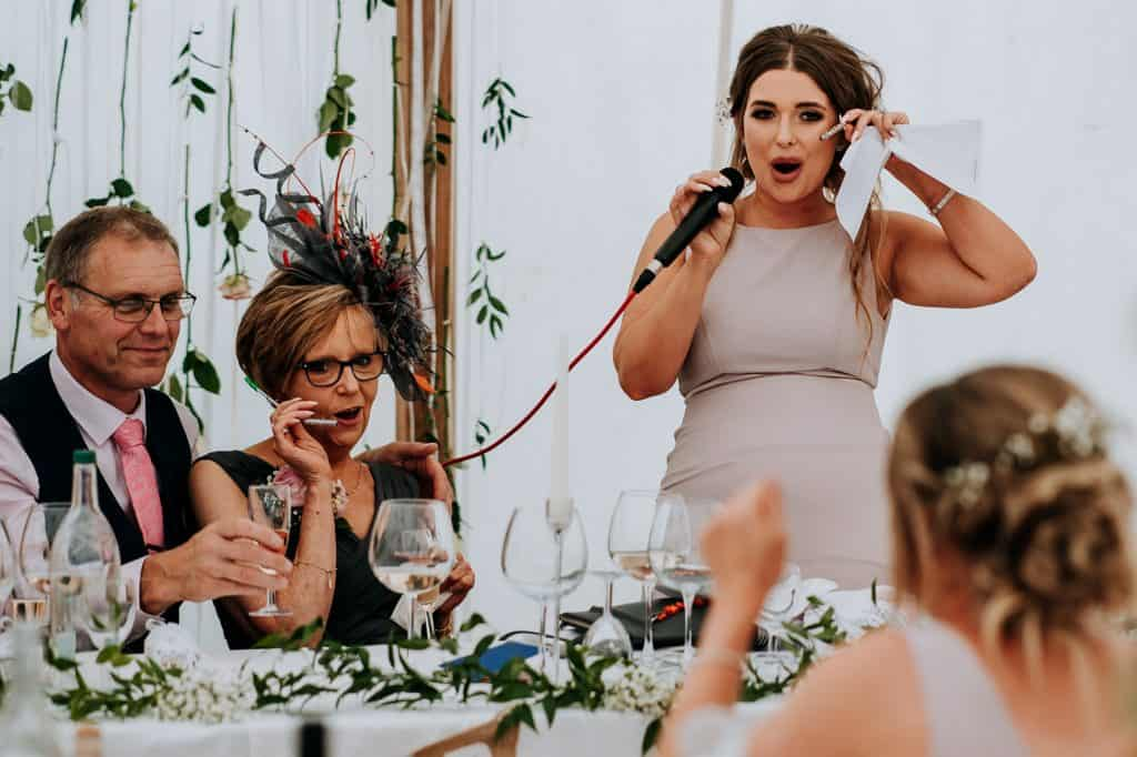 Yorkshire bridesmaid gives a funny speech at Little Wold